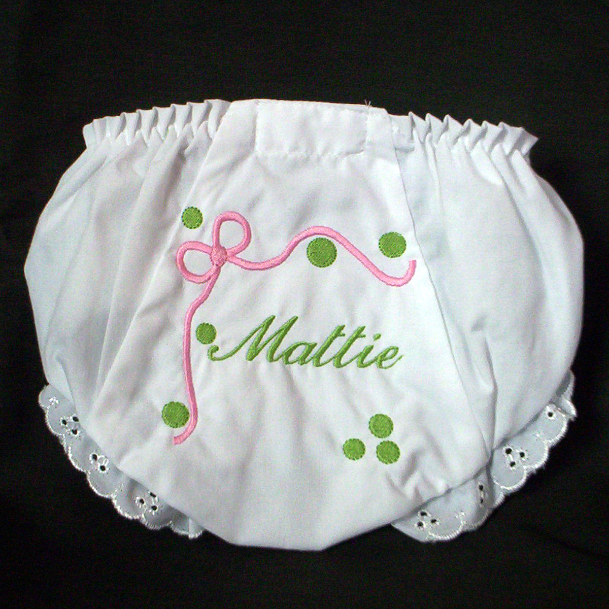 dab752a5a Ribbon and Dots Baby Bloomer - Diaper Cover